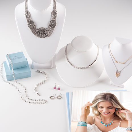 Touchstone Crystal Basic Starter Kit contents including 8 pieces of jewelry, catalogs and collateral