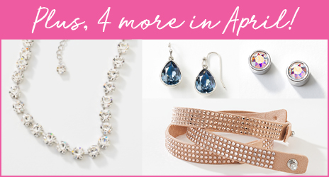 Extra 4 products in April. Sparkly Glitz Necklace, Blue earrings, Crystal AB earrings, Blush Twisted Bracelet