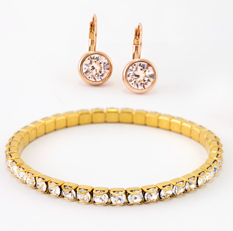 Rose Gold Bliss Earrings and Gold Stretch Bracelet