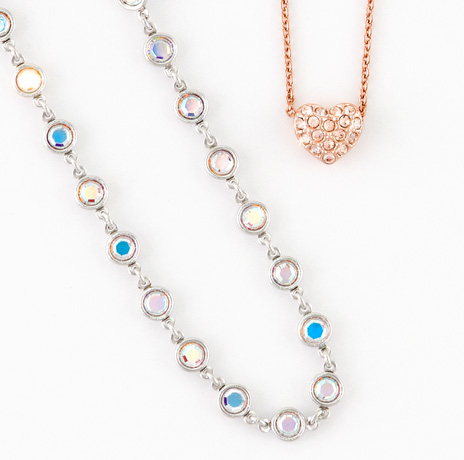 Crystal Aurore Boreale Chanelle Necklace and Blush Heart Necklace